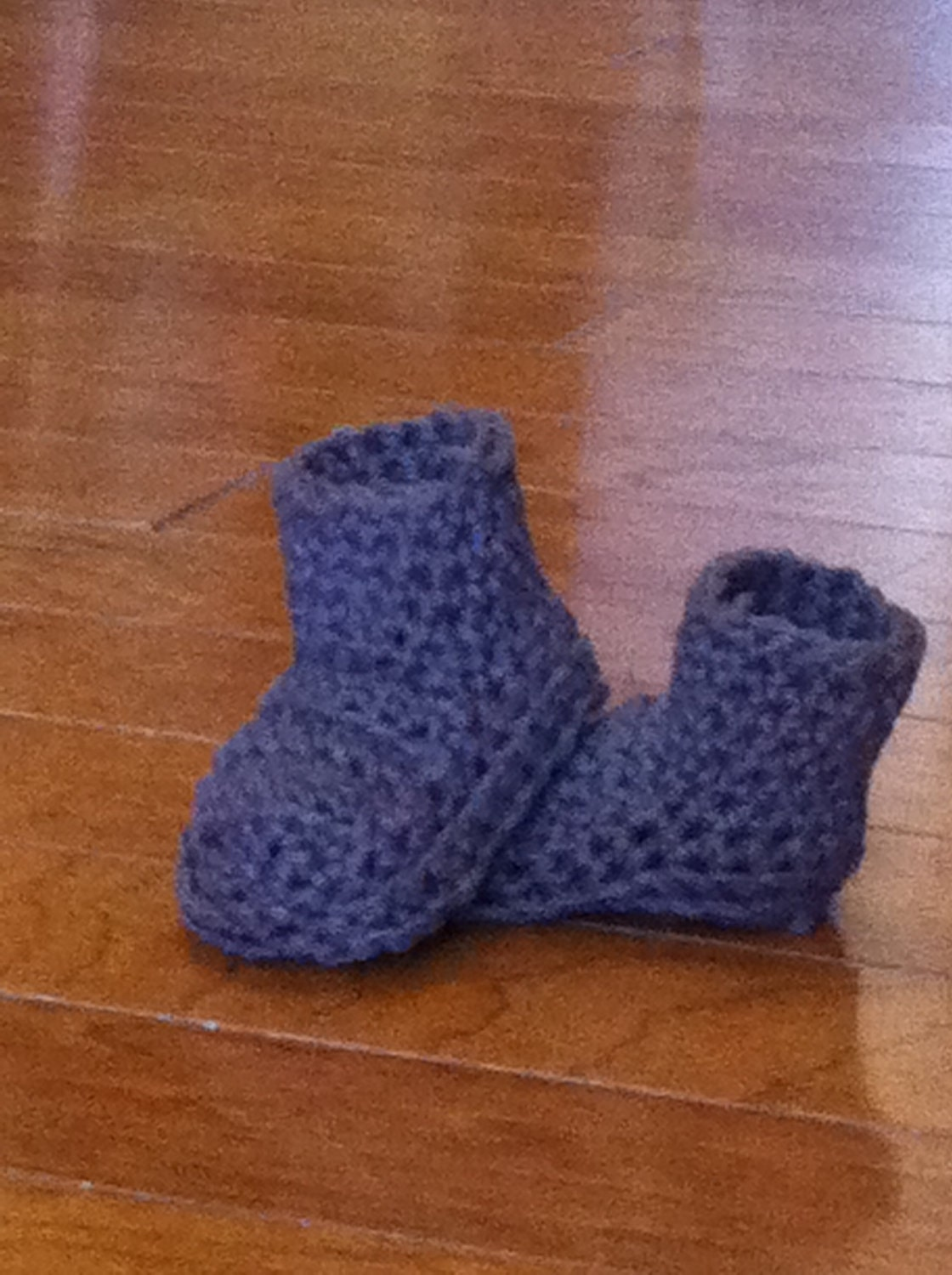 6 month crocheted gray baby boots