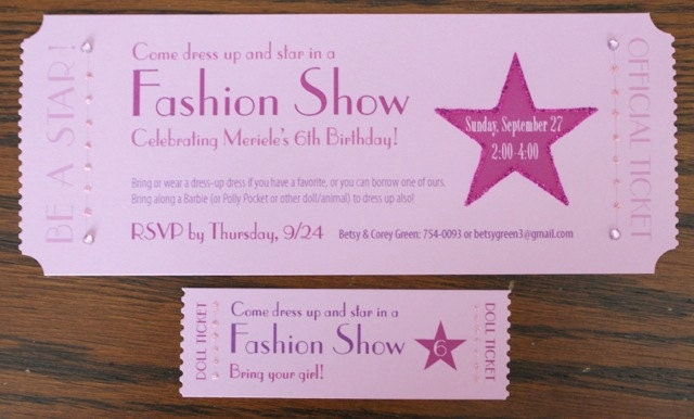 Items similar to Fashion Show Ticket Invitation on Etsy