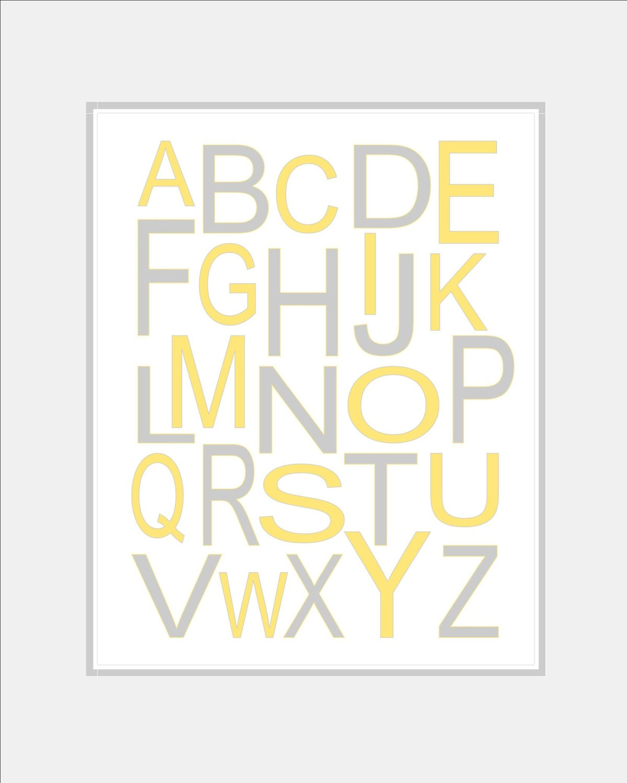 Yellow and Grey Nursery Alphabet Art  Baby Girl Nursery  ABC Nursery  Modern Alphabet  Kids Wall Art  Kids Room Wall Art. 8x10 print