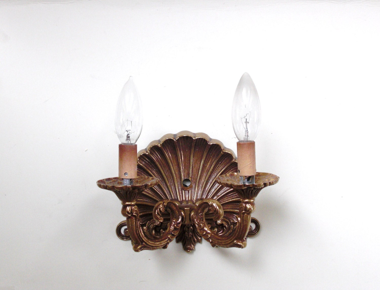 Items similar to Brass Double Light Shell Wall Sconce Hollywood Regency Style on Etsy