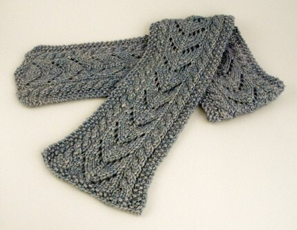 Knitting Pattern For Aran Scarf : Aran Cable and Lace Scarf Knitting Pattern PDF by FiberWild