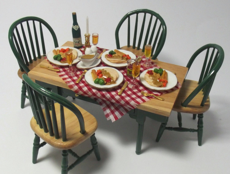 Dolls House 1:12 OOAK Miniature Country Kitchen - Handmade Turkey Dinner Table Set