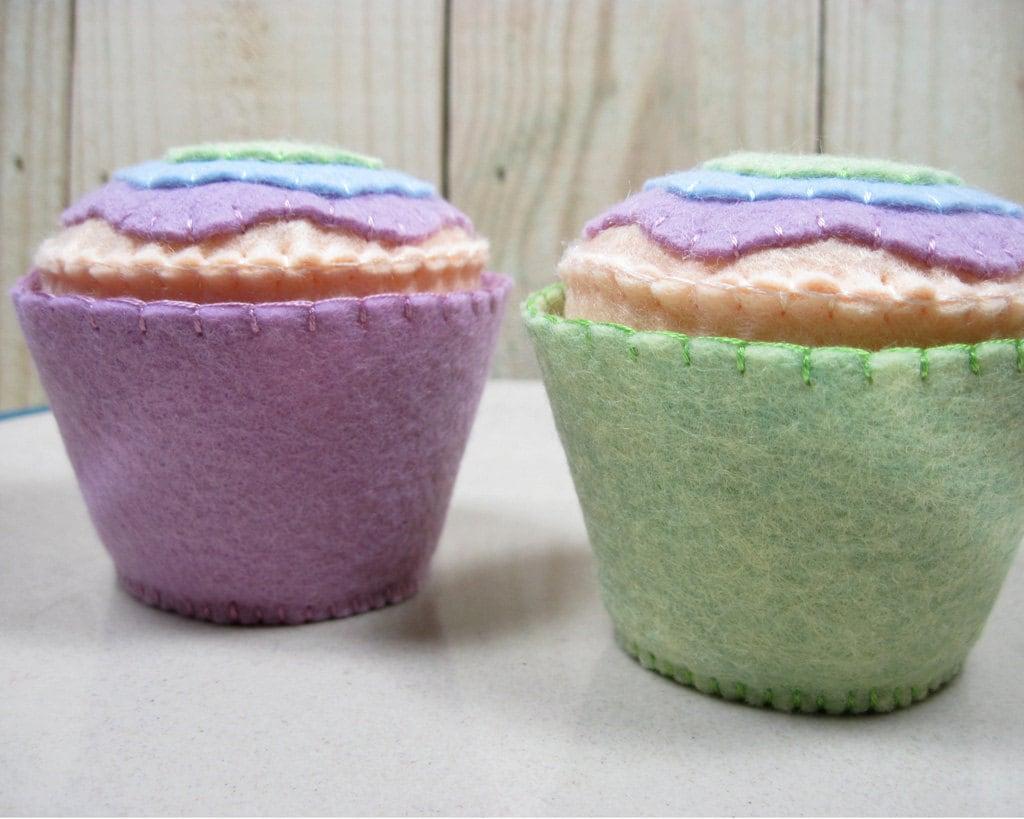 Felt Food Cupcakes, Set of 2, Spring Colors - FiddledeeDeeCraft