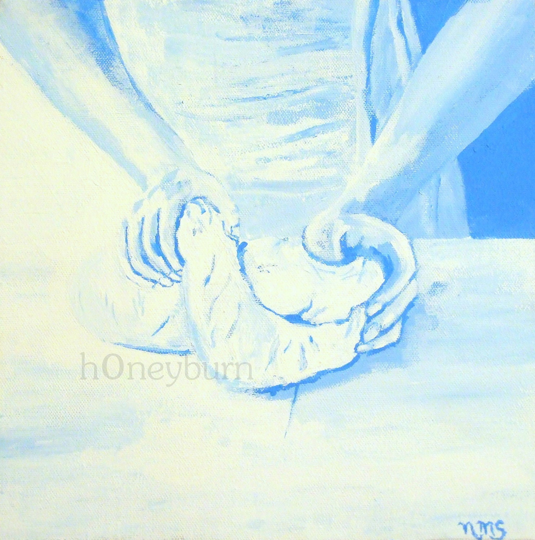 Bread Kneading - Original Acrylic Painting 10x10 Framed Canvas - Art on the Prairie