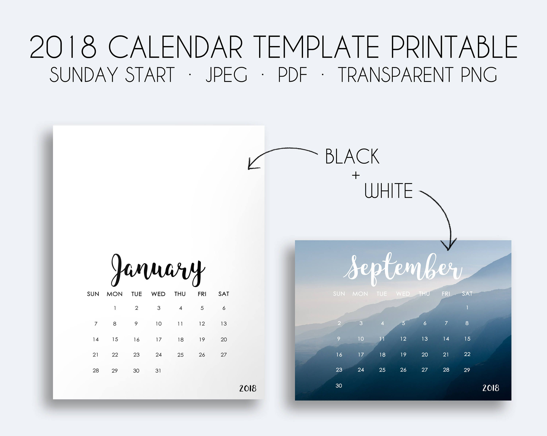 2018 calendar | Etsy