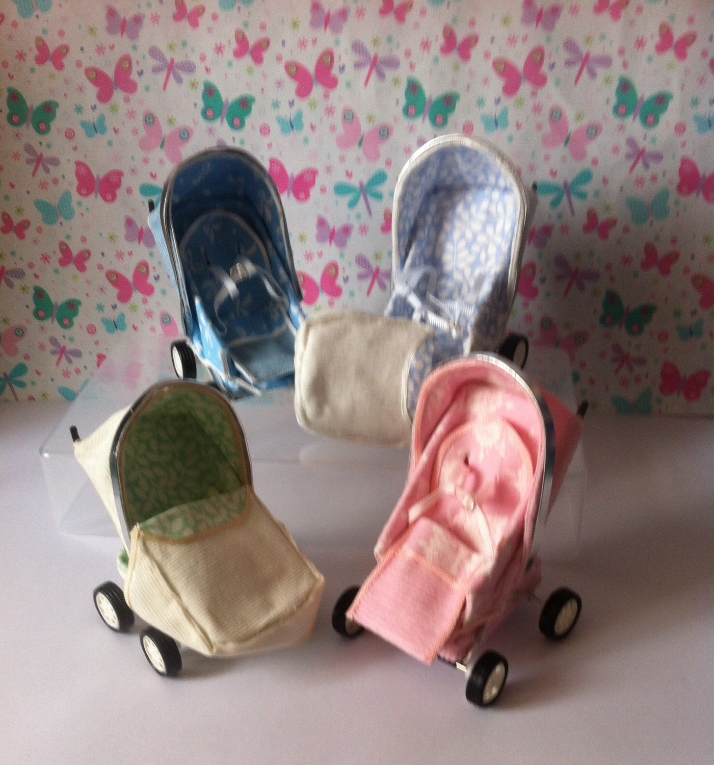 Dolls House Miniature OOAK Modern Baby StrollerPushchair with or without an OOAK Baby