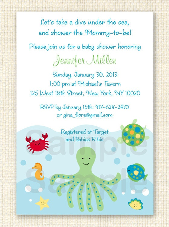 under the sea baby shower invitation by littleprintsparties
