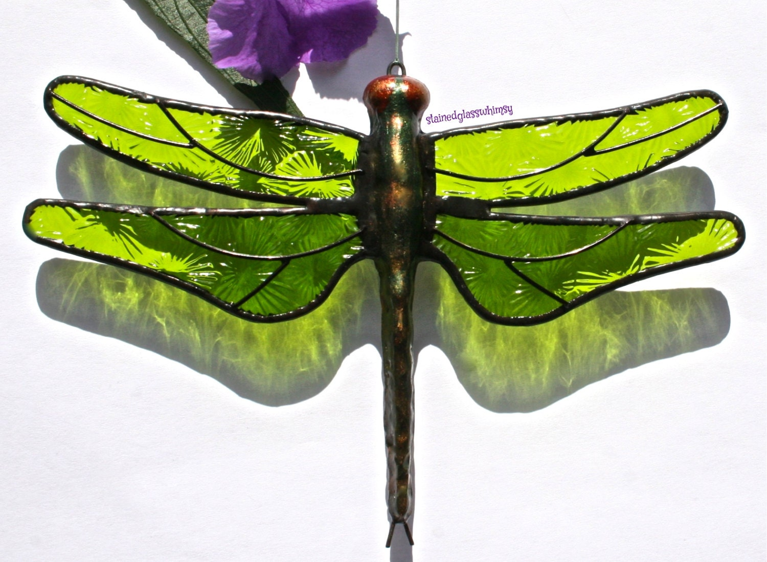 Stained Glass DRAGONFLY Suncatcher,  Spring / Lime Green Wings, Textured, Handcast Metal Body, USA Handmade - stainedglasswhimsy
