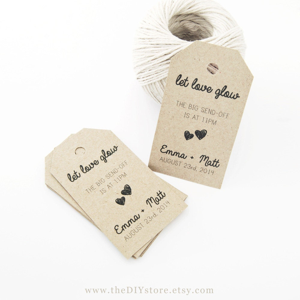 Favor Tag Template, MEDIUM Two Small Hearts, Wedding Sparklers Tags ...