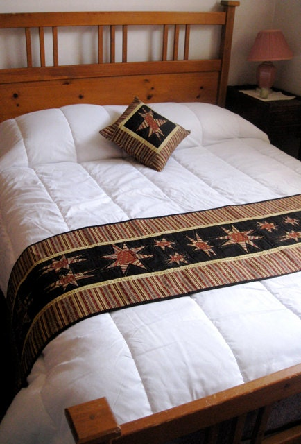 items similar to quilted bed scarf with matching pillow