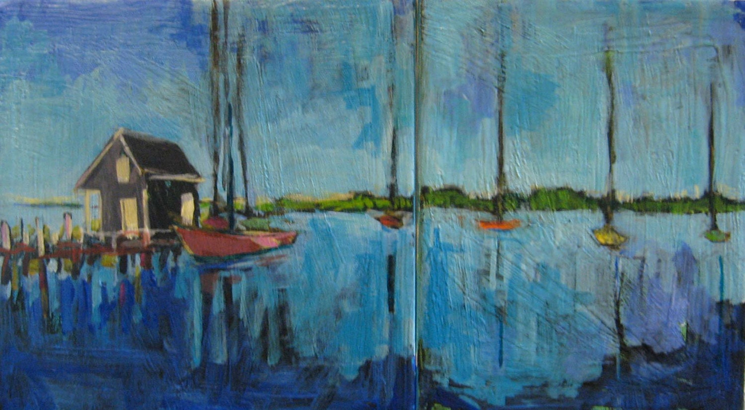 "Yesterday Harbor - Original Acrylic Oil Encaustic Diptych Painting - 18""x 10"" - TheQuirkyArtisan"