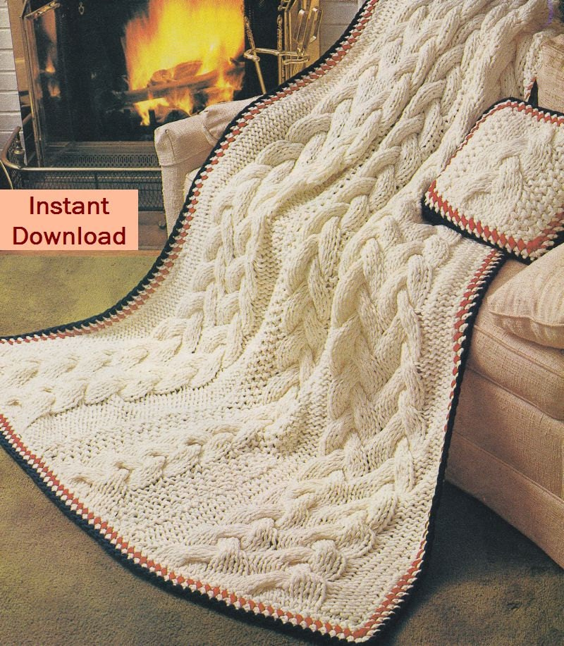 Fisherman Knit Afghan Pattern Free : Afghan Knitting Patterns Cable Aran and lots by PaperButtercup