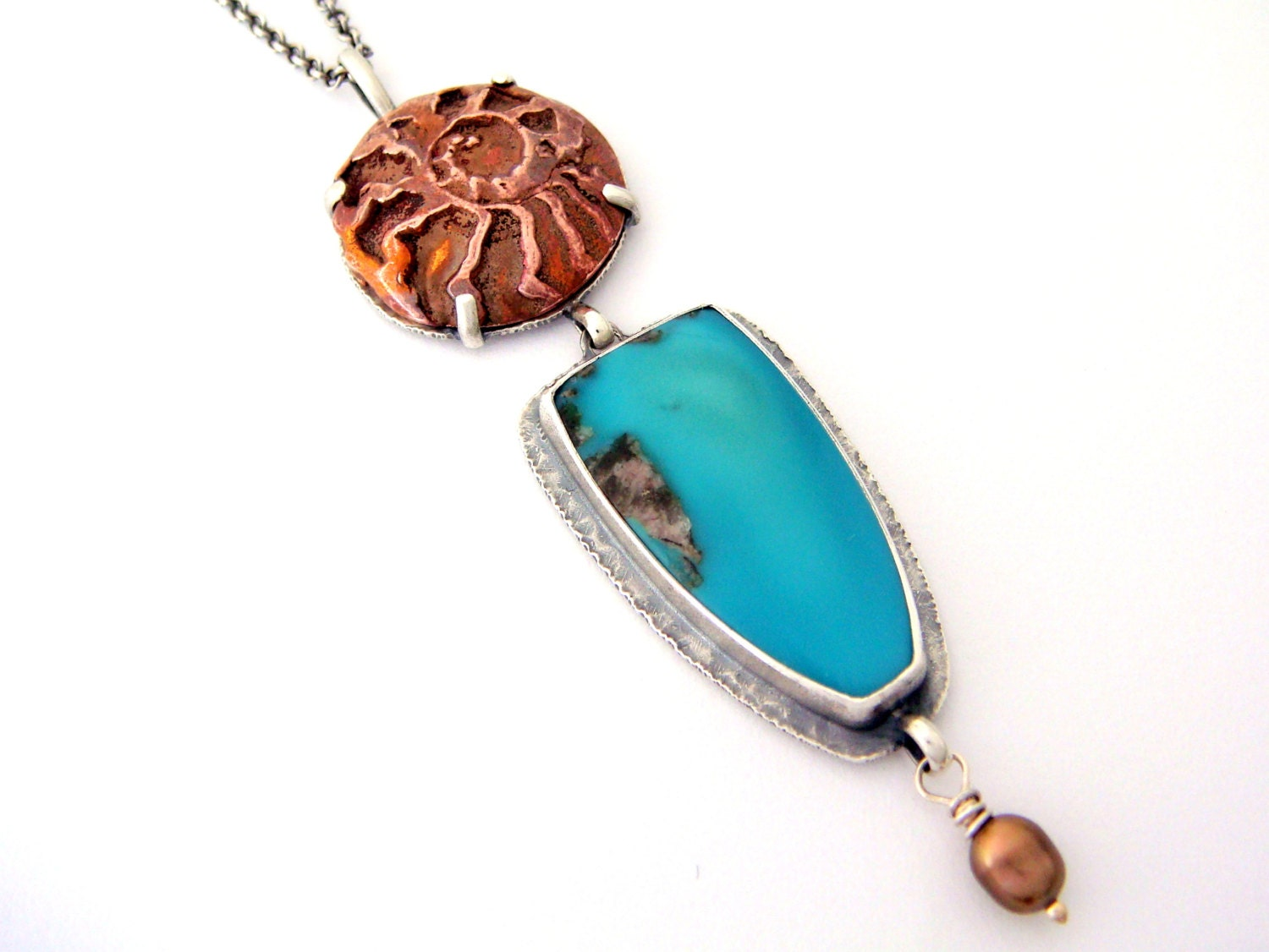 Beach Combing - Turquoise Necklace with Copper Ammonite and Pearl set in Sterling Silver - Carlin Mine Turquoise Necklace - SCJJewelryDesign