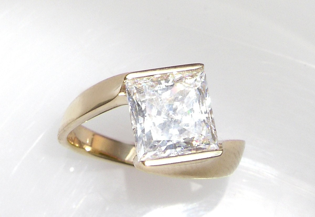 items similar to channel set style princess cut cz ring on