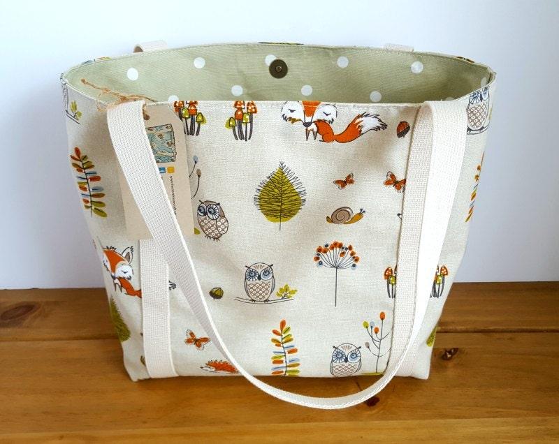 Fabric Handbag Woodland Purse Canvas Tote Bag Lined Shopping Bag Fox Gift for Mum Sage Green Fox and Owl Bag Medium Size Animal Bag