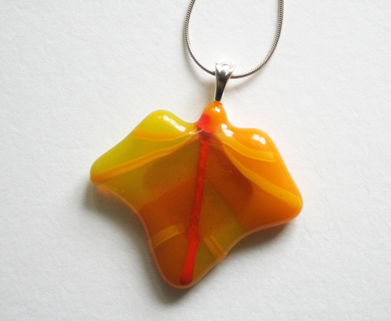 fused glass autumn leaf pendant necklace - orange yellow - ittiillustrations