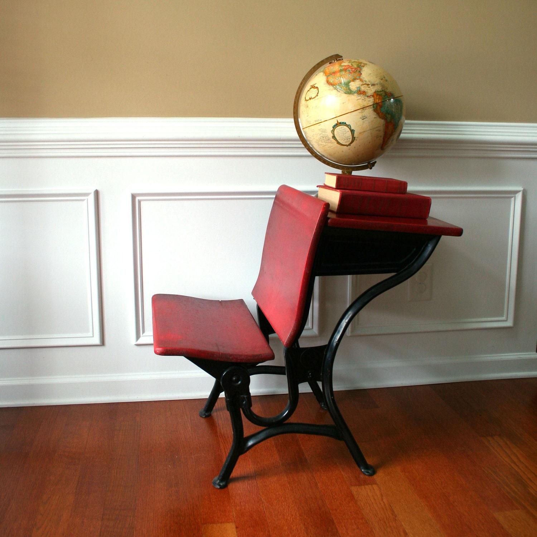 industrial vintage school desk w bench chair by rhapsodyattic. Black Bedroom Furniture Sets. Home Design Ideas