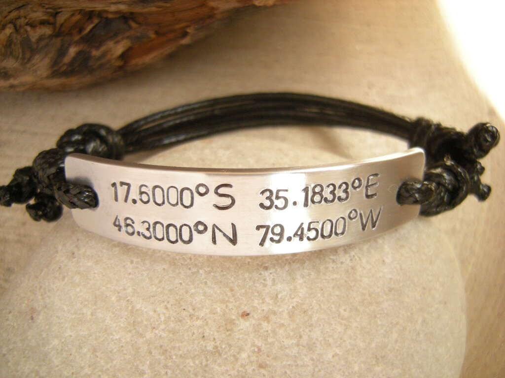 gps bracelet gps coordinates mens bracelet by