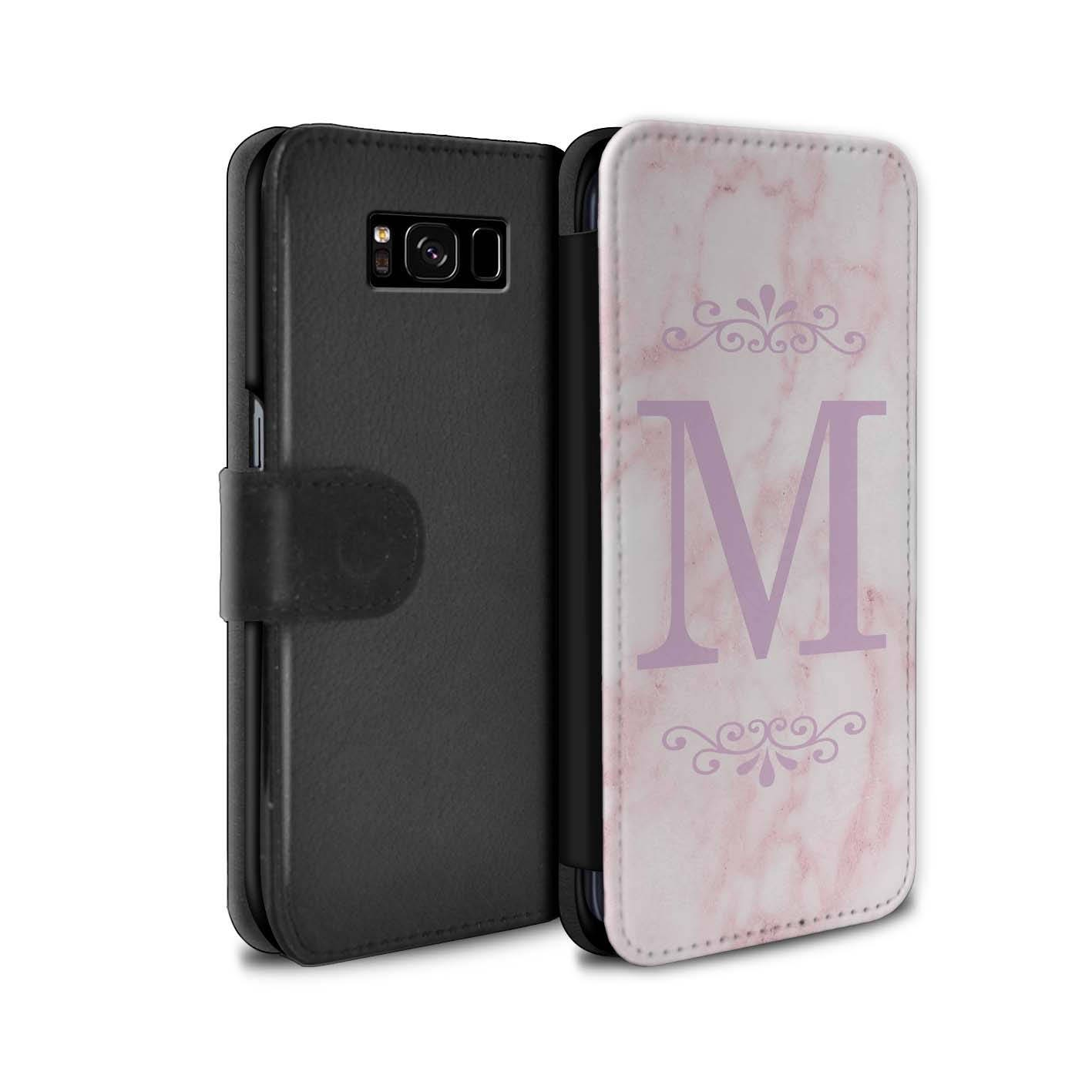 Pink Marble Pink Font initial Frame Personalized Custom Wallet Flip Phone Case Samsung Galaxy S5 S6 Edge S7 Edge S8 S8 Plus