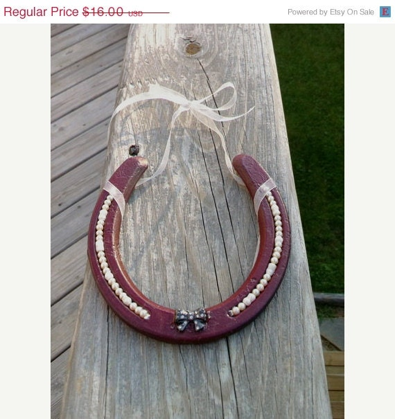 ON SALE Burgundy decorated horseshoe with pearls - shabby chic decor horeseshoe - country decor - MauveMoose