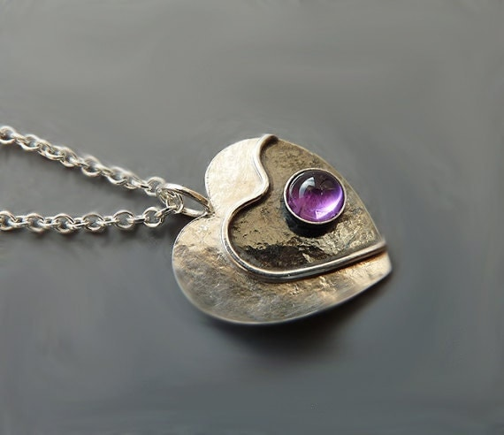 Sterling silver heart necklace with amethyst F1 - Amethyst necklace - Heart necklace - Gemstone pendant - Heart pendant  - hand crafted - Kailajewellery