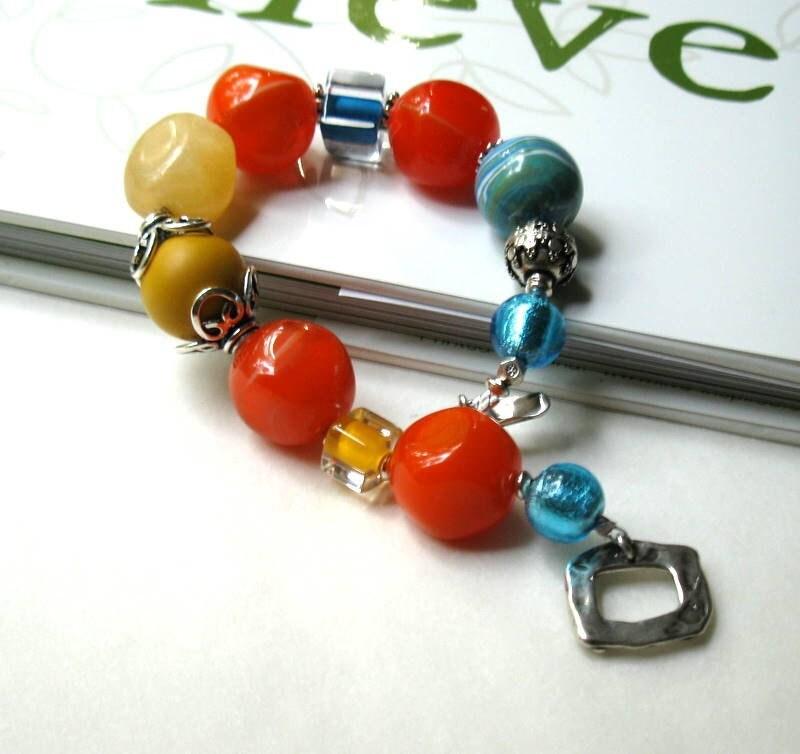 Orange, Blue Murano, and Sterling Silver Bracelet - Bonanza