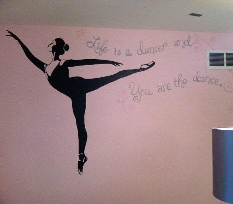 Dancer painting custom mural ballerina room pink by for Ballerina wall mural