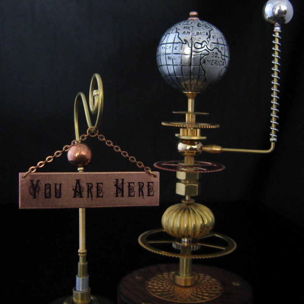 Steampunk Globe Sculpture Assemblage Mixed Media By
