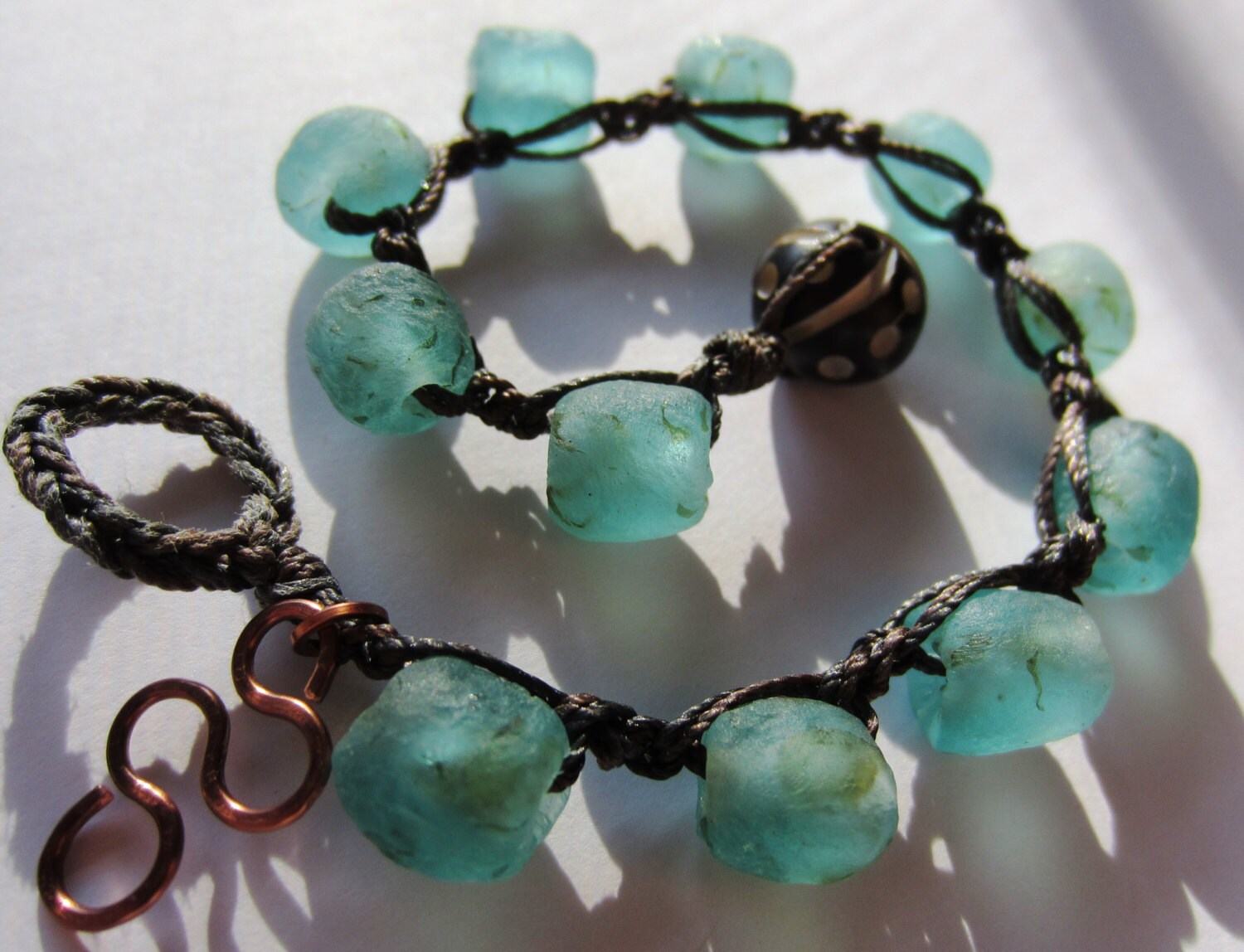 African Recycled Glass Bracelet - Crochet Artisan Jewelry - Turquoise Upcycled Glass beads, Elegant, Tribal and Eco Friendly - GroundedJewelry