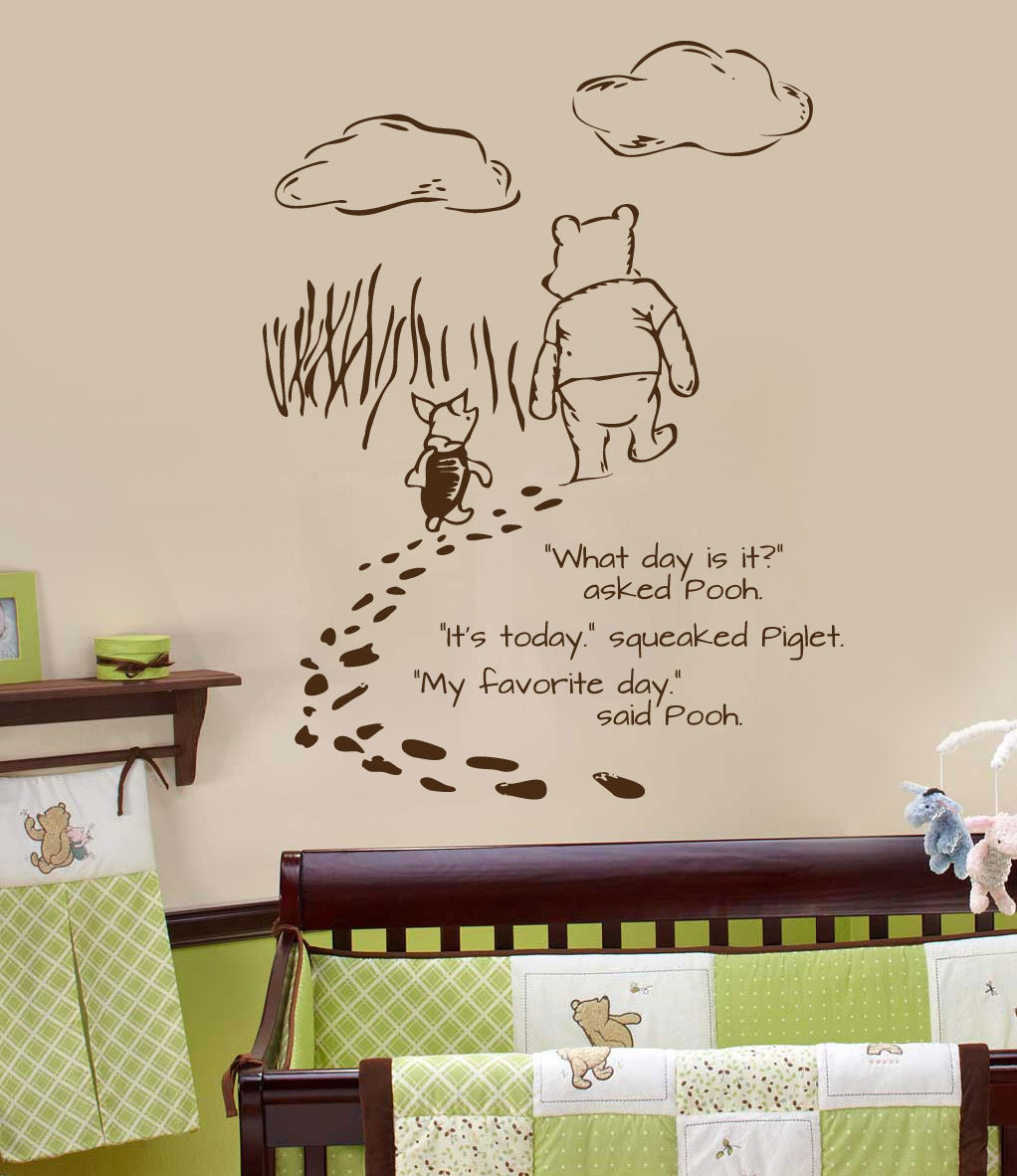 Classic pooh wall decal foot prints by wildgreenrose on etsy for Classic pooh wall mural