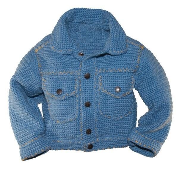 Crochet Jeans : Crochet Pattern PDF Jean Jacket by pattydavisdesigns on Etsy
