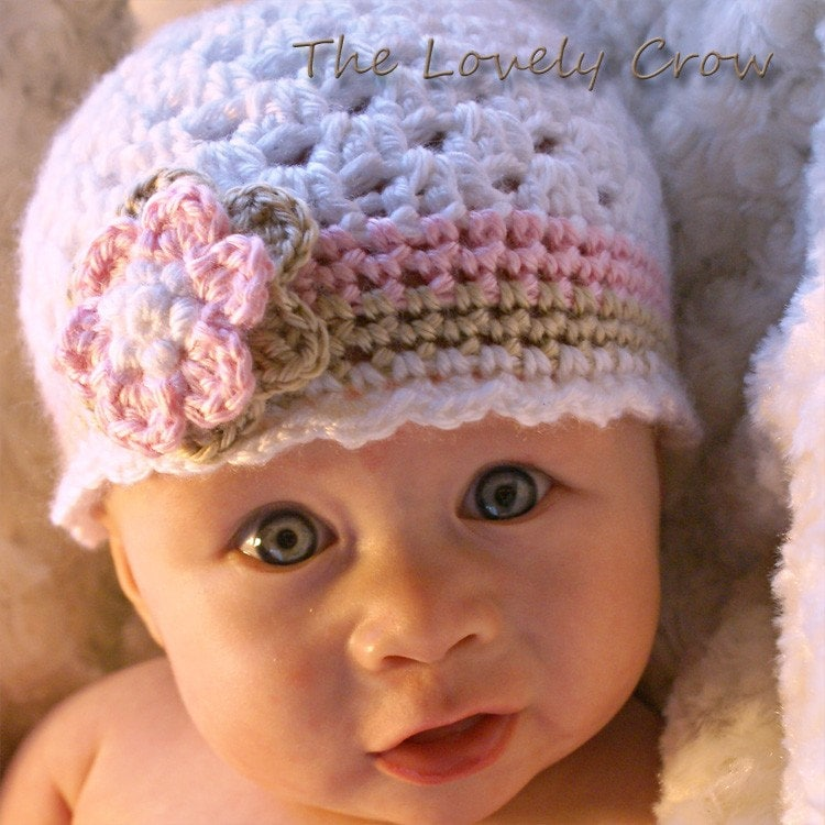 Free Crochet Patterns For Baby Girl Beanie : Baby Girl Hat Crochet Pattern for Ebeths Princess by ...