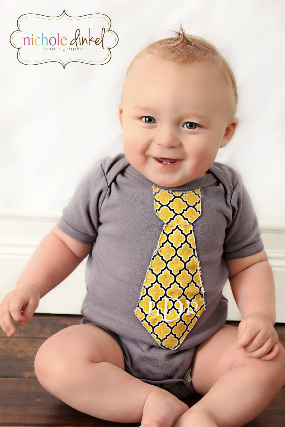 Dark Gray Monogrammed or Personalized Tie Onesie. Any Tie.  Mustard Yellow and Grey, Anthropology Style.   Chic Baby Boy. - ChicCoutureBoutique