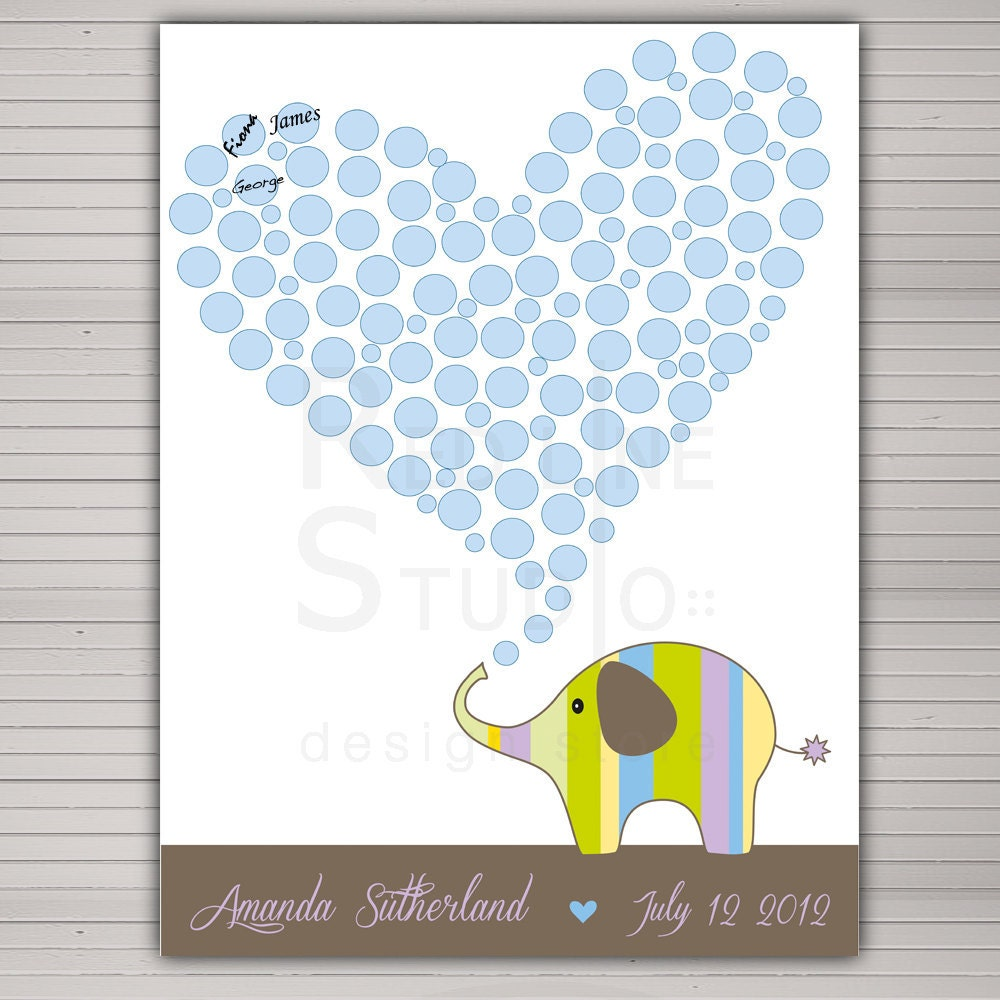 DIY printable Baby Shower guest book alternative. Cute elephant 80 signatures. Housewarming Gift, Nursery Wall Art. - redlinecs