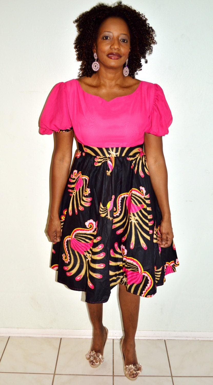 Pink and Ankara Print Short Dress, African Print Short Dress, Ankara