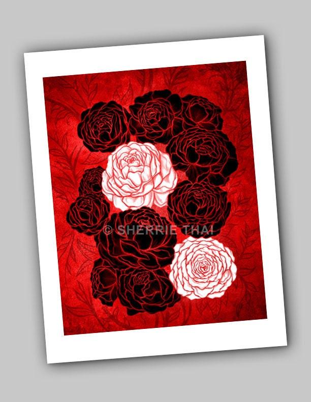Peony Flowers Art Print