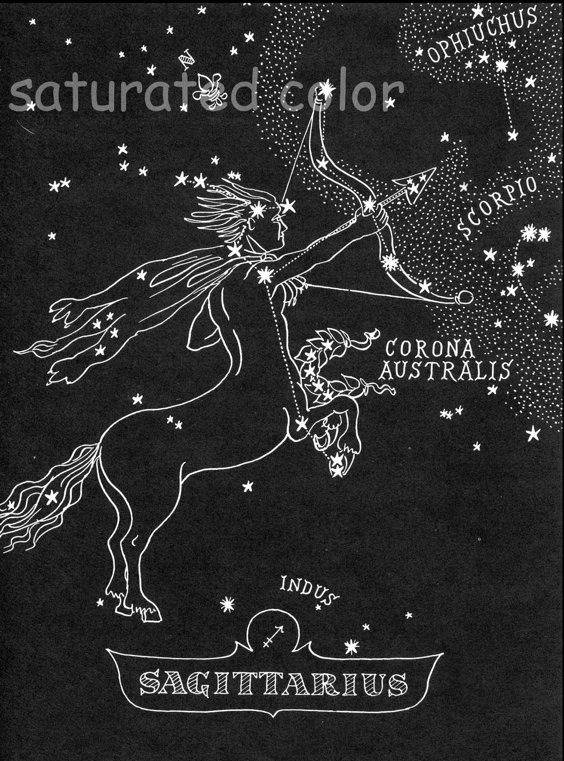 Sagittarius Star Chart Map Zodiac Constellation by SaturatedColor