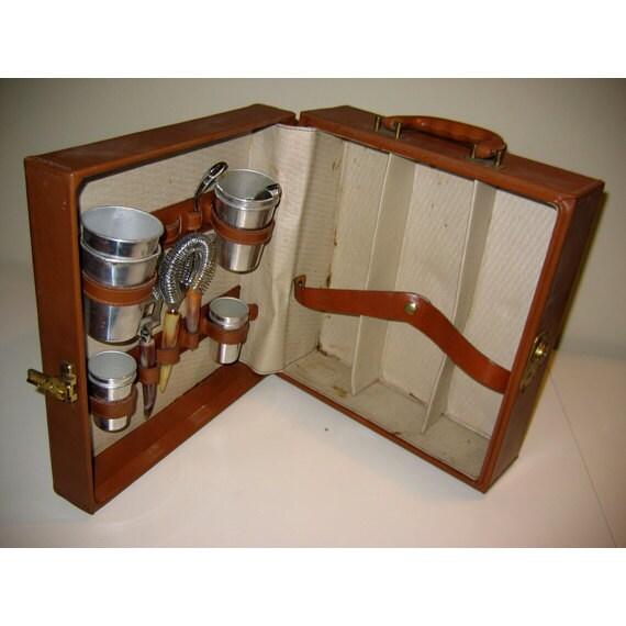Vintage leather case portable travel bar set by - Mobile bar vintage ...