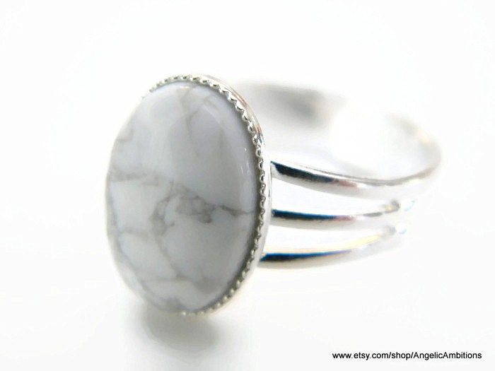 Ring White Howlite Natural  Ring 10x14mm Silver Plated Adjustable Ring - AngelicAmbitions