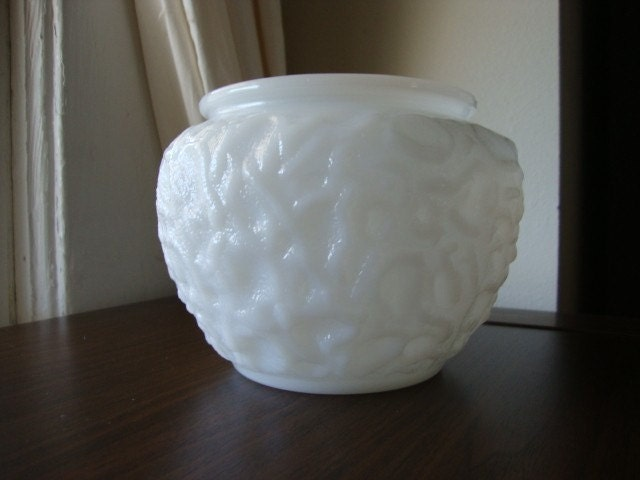Milk Glass Vase Short Fat Compote Planter Wide By