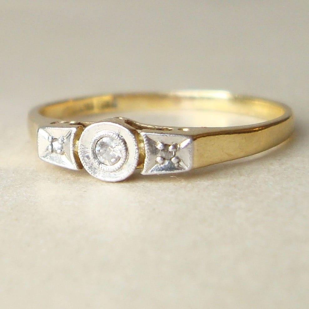 Art deco engagement ring 18k gold geometric diamond by for Geometric wedding ring