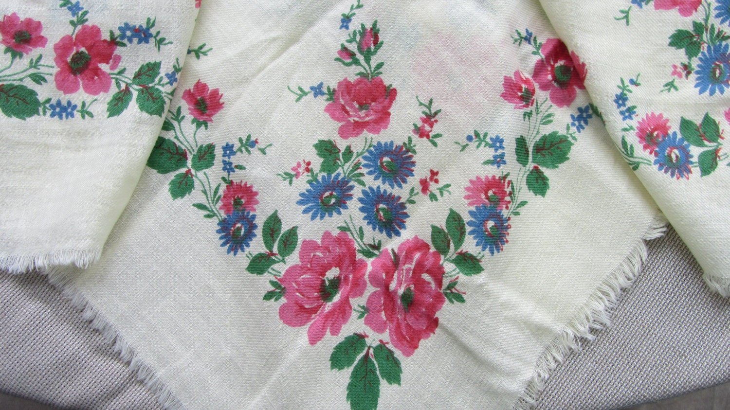 Floral Scarf with pink and blue flowers, Vintage Floral cotton white shawl, Pink
