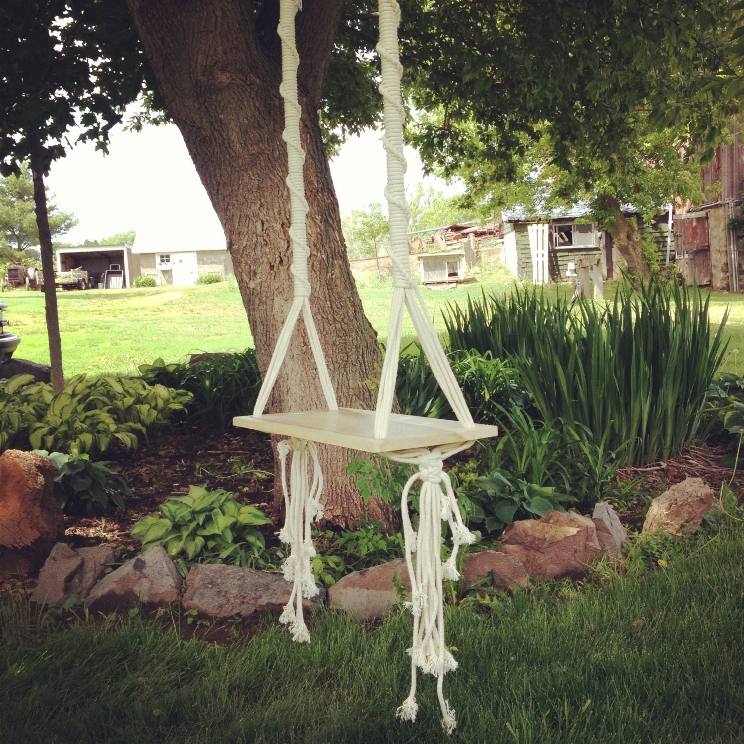 Tree swing macrame swing by thethrowbackdaze on etsy