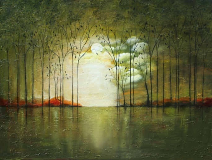 Abstract Landscape Paintings : Abstract Landscape painting modern tree art by LaurenMarems
