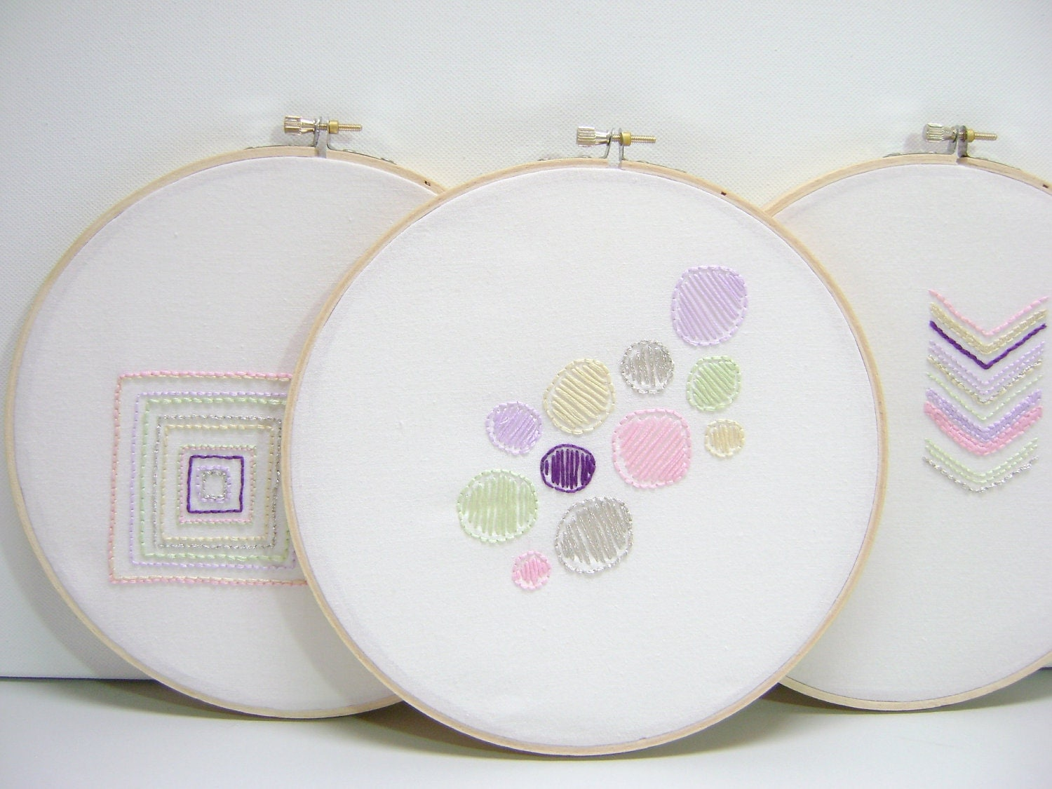 Nursery Wall Art Embroidery Hoops Children Decor Pastel Shapes Ooak Set of 3 Handmade by MissSarahMac on Etsy - MissSarahMac
