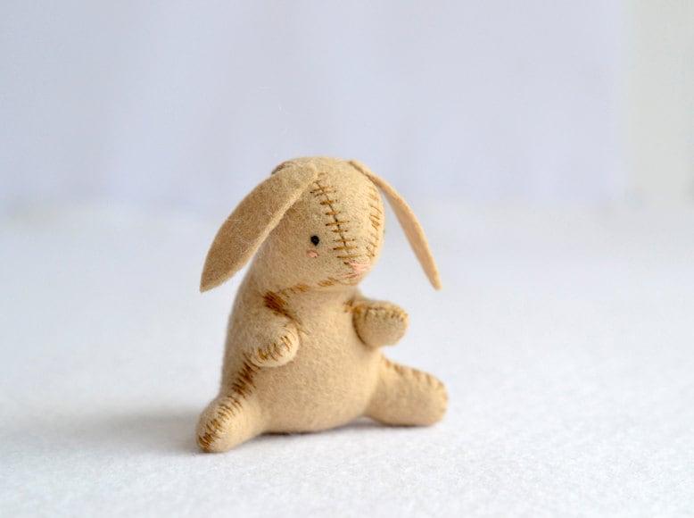 sad rabbit - little plush brown bunny - rabbit softie by mountroyalmint