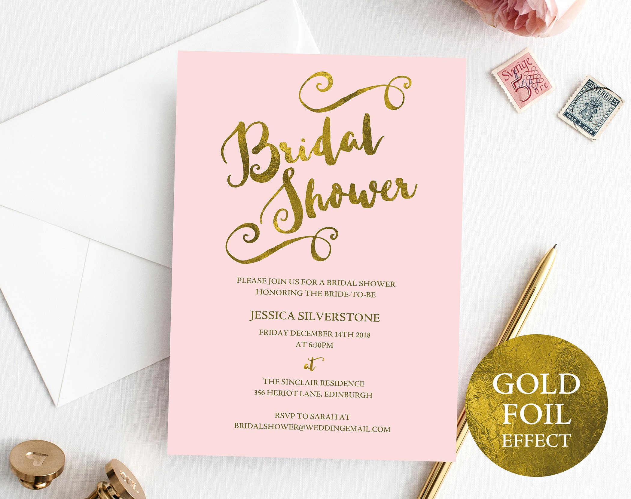 Blush and Gold Bridal Shower Invite Bridal Shower Invitation Wedding Shower Wedding Printable Printable Invite Instant Download MM04