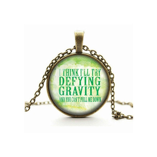 Wicked Necklace Wicked The Musical Defying Gravity Pendant Glass Cameo Cabochon Tile Necklace Jewellery Musical Theatre Handmade