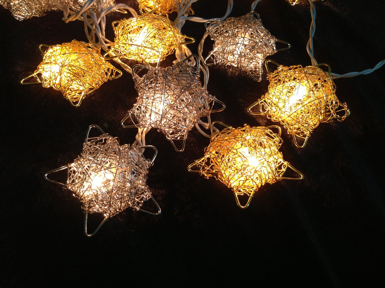 20 Bulbs Gold and Silver disco star string lights for by ginew