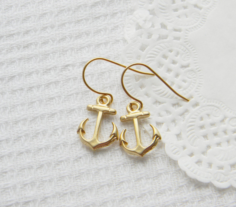 Tiny Anchor Earrings - 14k Matt Gold Plated Earrings - InitialJewelry